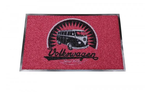Fußmatte VW T1 Bus 75 x 45 cm rot/schwarz