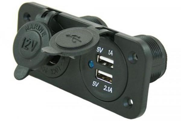 Pistorasiat uppo 12 V + 2 x USB - 12 V pistotulpat japistorasit - 9960065 - 1