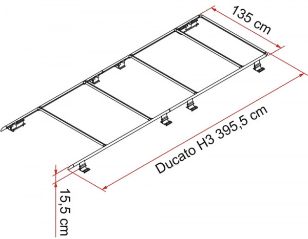 Dachträger Roof Rail Ducato H3, ab 06/2006