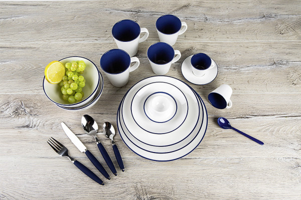 Geschirrset Linea Blue 16-tlg. weiß/blau