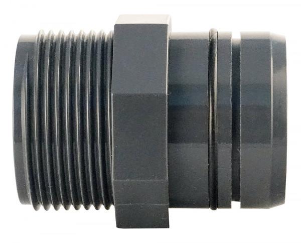 Rohrstecksystem-grauGELB Gerader Rohrverbinder 40/32 mm mit AG 1 ¼ Zoll