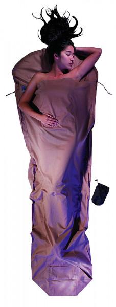 Leicht-Mumienschlafsack 241 x 90/56 cm khaki ägyptische Baumwolle