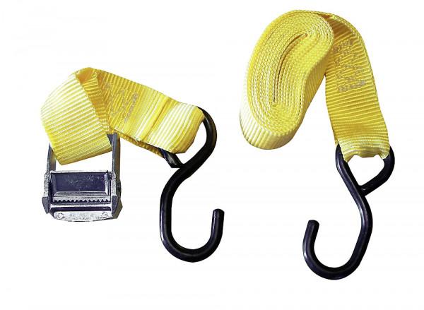 Zurrgurt mit Klemmschloss, 3,5 cm breit, gelb