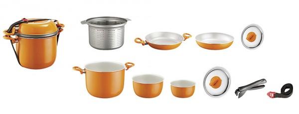 Brunner kattilasarja Alu 10-osaa Mandarina Orange , keraaminen sisäpinnoite estää tarttumisen - Kattilat ja pannut - 9932011 - 1