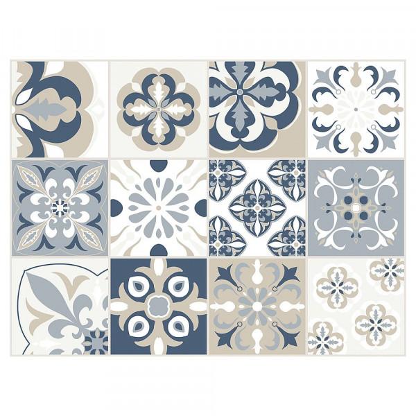 Tischset Vinyl Mosaik beige/blau