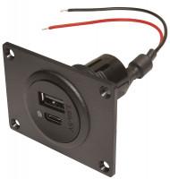 Doppelsteckdose EV Power USB-C/A mit Montageplatte 12 - 24 V