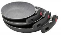 Pfannenset Aluminium Click + Cook Granitium 3-tlg. schwarz