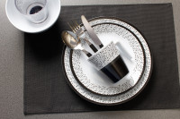 Geschirrset Pralin 16-tlg. weiß/schwarz