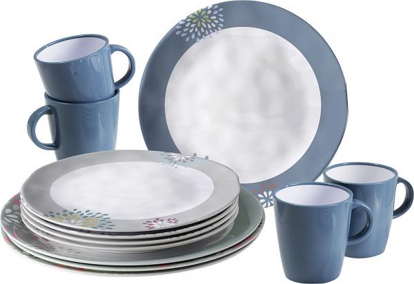 Geschirrset Belfiore 16-tlg. weiß/blau/grau