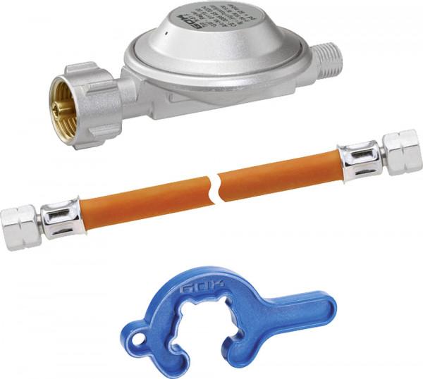 Regler Schlauch Set EN61 1,5 kg/h 50 mbar KLF x G 1/4 LH-ÜM, Schlauch 800 mm, Minitool