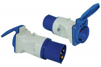 Adapter CEE 17 Stecker / Schukosteckdose mit Klappdeckel, blau/weiß