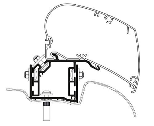Roof Adapter VW Crafter ab 2017 3-tlg. Linkslenker